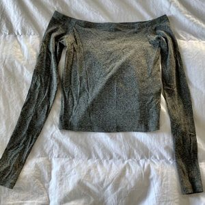 H&M off the shoulder grey ribbed top